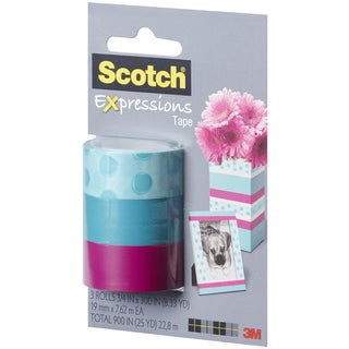 Scotch Expressions Tape Removable 3/Pkg-Circles/Blue/Salmon
