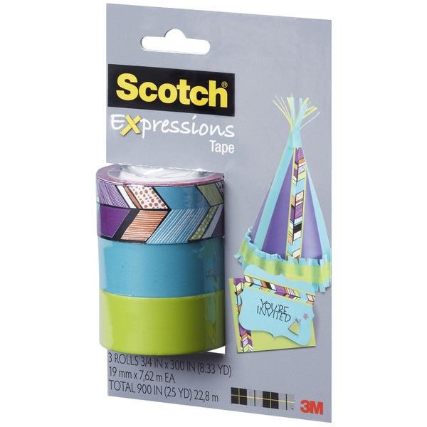 Scotch Expressions Tape Removable 3/Pkg-Tribal/Blue/Green