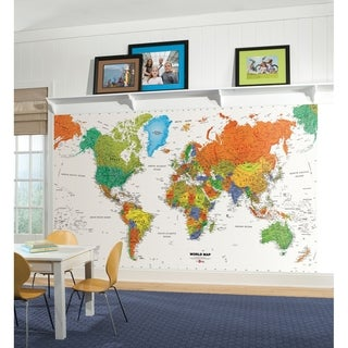 World Map Chair Rail Prepasted Mural Ultra Strippable