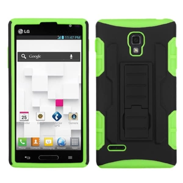 INSTEN Black/ Electric Green Car Stand Phone Case Cover for LG P769 Optimus L9