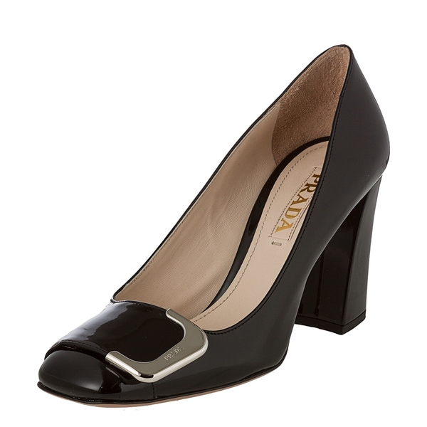 Prada Women's Patent Leather Pump with Buckle