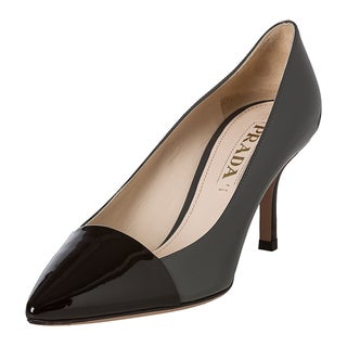 Prada Women's Patent Leather Pump with Contrast Toe