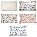 Thro Love Embroidered Script Pillow (12 x 20)