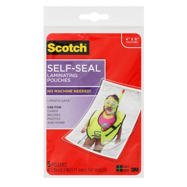 3M 15 Pack Scotch Self-Seal Laminating Pouches Photo Size