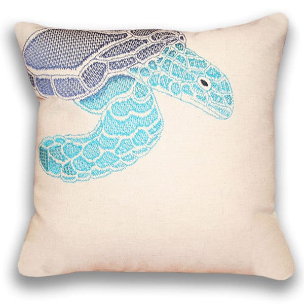 Ombre Sea Turtle 16-inch Square Down Filled Pillow 16-inches