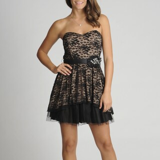 A. Byer Women's Juniors Strapless Lace Overlay Party Dress