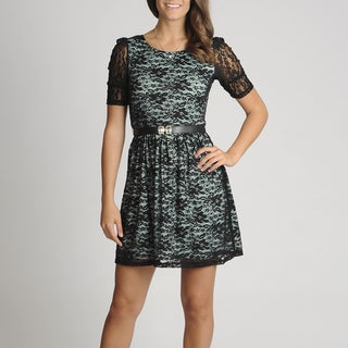 A. Byer Women's Juniors Mint Lace Overlay Dress