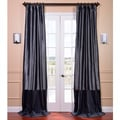 Banded Faux Silk Graphite & Blue Velvet Curtain Panel