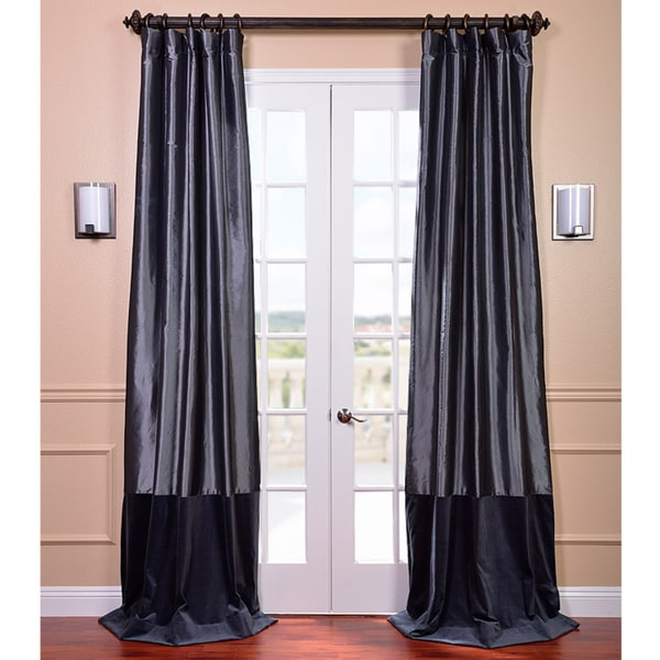 EFF Banded Faux Silk Graphite & Blue Velvet Curtain Panel