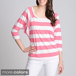 Grace Elements Women's Striped Dolman Sleeve Top