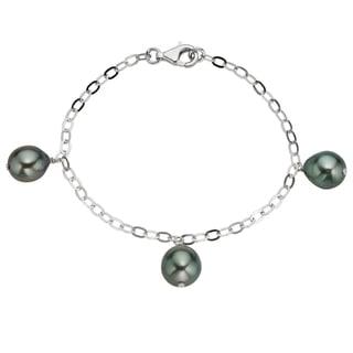 Pearlyta Sterling Silver Black Tahitian Pearl Chain Bracelet (9-10 mm)