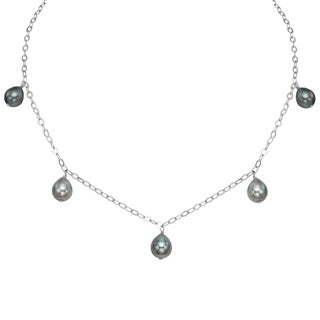 Pearlyta Black Tahitian Pearl Chain Necklace