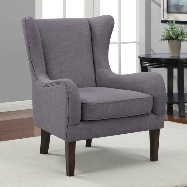 Overstock Living Room Chairs : Curved Wing Upholstered Chair Grey - 15330397 - Overstock ...