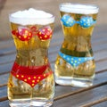 Set of 2 Glass Sexy Lady Torso Bikini Beer Mugs