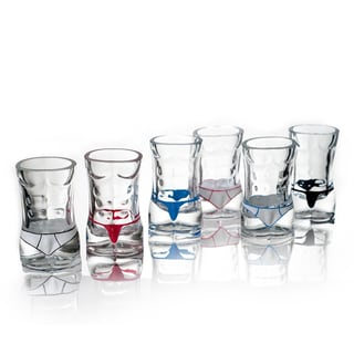 Glass Male Torso Hunk Shot Glasses (Set of 6)