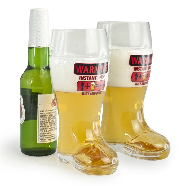 Glass Boot Beer Mugs with Whimsical Warning Imprint (Set of 2)