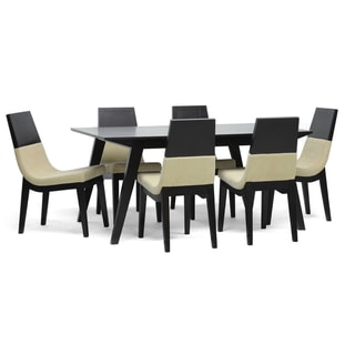 Baxton Studio Prezna 7-piece Dark Brown Modern Dining Set