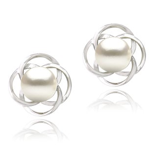Glitzy Rocks Sterling Silver Freshwater Pearl Flower Earrings (8 mm)