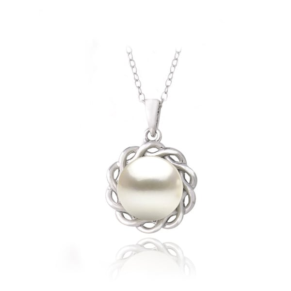 Glitzy Rocks Sterling Silver FW Pearl Braided Circle Necklace (10 mm)
