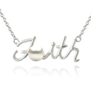 Glitzy Rocks Sterling Silver Freshwater Pearl Faith Necklace (5.5 mm)