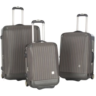 Lotus Oneonta 3-piece Grey Stripe Luggage Set