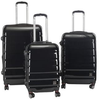 Lotus Pheonix 3-piece Black Hardshell Spinner/ Rolling Luggage Set
