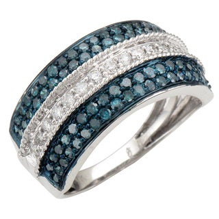14k White Gold 1ct TDW White and Blue Diamond Band (J-I, I1-I2)