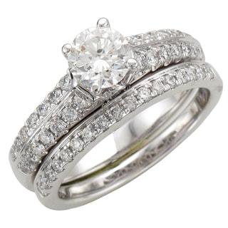 14k White Gold 1 1/10ct TDW Diamond Bridal Ring Set (H-I, I1-I2)
