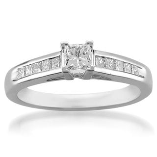 Platinum 3/5ct TDW Princess Diamond Engagement Ring (G-H, SI2-SI3)