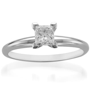 Platinum 1/2ct TDW Diamond Solitaire Engagement Ring (H-I, I1-I2)