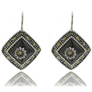 Dolce Giavonna Sterling Silver Black Onyx and Marcasite Drop Earrings