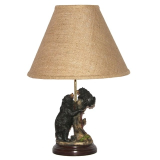 Black Bear with Cub Table Lamp with Burlap Lamp Shade