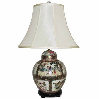 Ginger Jar Rose Famille Porcelain Table Lamp