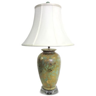 Celadon and Gold Scroll and Crystal Stand Table Lamp