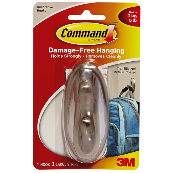 3M Command Damage-Free Traditional Metallic Finish Large Hanging Plastic Hooks (Pack of 3)