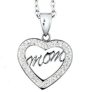 Stainless Steel Cubic Zirconia 'Mom' Script Heart Necklace
