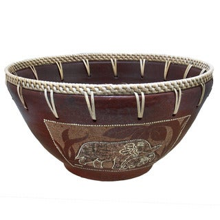 Handmade Eggshell Etched Elephant Bowl (Indonesia)