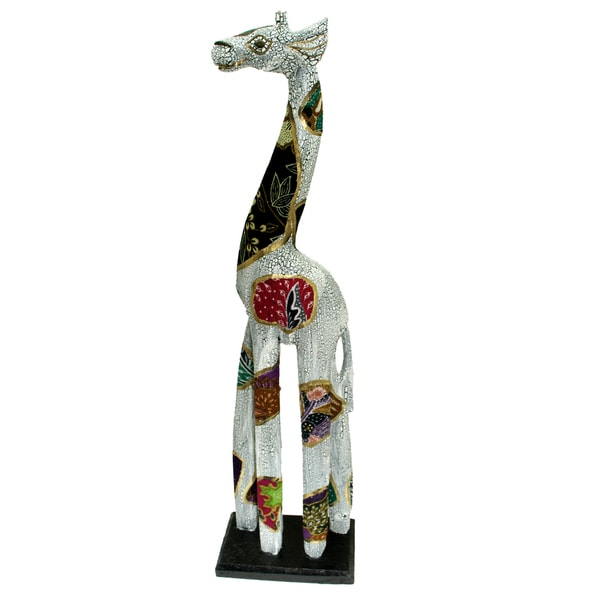 White Wooden Batik Giraffe Statue (Indonesia)
