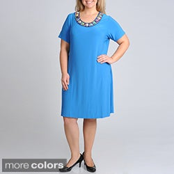 Nina Leonard Women's Plus Pebble Necklace Dress