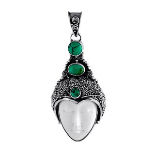 Sterling Silver and Jade Bali Crown Prince Pendant (Indonesia)