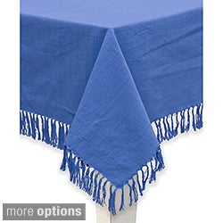 Mahagony Blue Fringed Cotton Tablecloth or Napkins (set of 4)