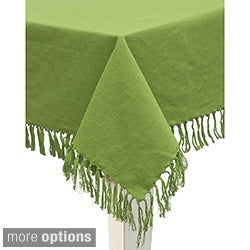 Mahogany Green Fringed Indian Cotton Tablecloth or Set of 4 Napkins
