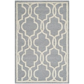 Safavieh Abstract Handmade Cambridge Moroccan Silver Wool Rug (2' x 3')