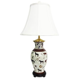 Hunt Club Design 1-light Fishtail Porcelain Table Lamp