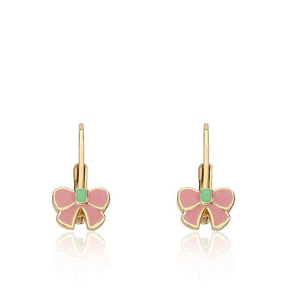 Little Miss Twin Stars Gold Overlay Children's Bow Earrings