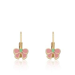 Little Miss Twin Stars Gold Overlay Children's Bow Earrings