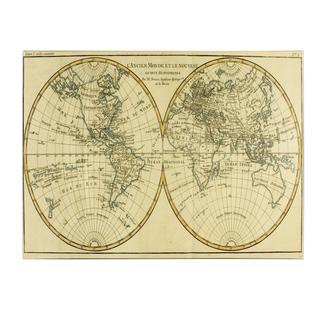 Charles Bonne 'World Map in Two Hemispheres' Canvas Art