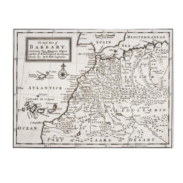 Hermann Moll 'Map of Western Barbary, 1720' Canvas Art
