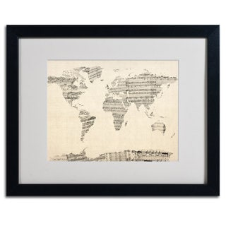 Michael Tompsett 'World Map... Old Sheet Music' Framed Matted Art