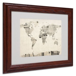 Michael Tompsett 'World Map... Vintage Post Card' Framed Matted Art